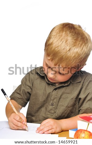 Little boy hard at work
