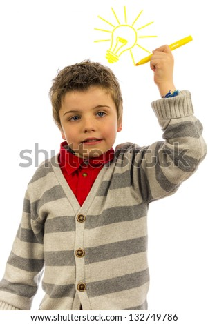 little boy having a bright idea. the background is pure white, so the light bulb can easily be replaced or removed