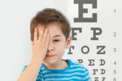 Little boy having eye test at ophthalmologist office