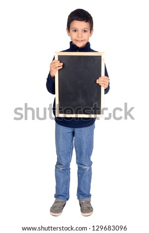 little boy holding a black board
