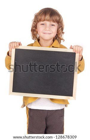 little boy holding a blackboard