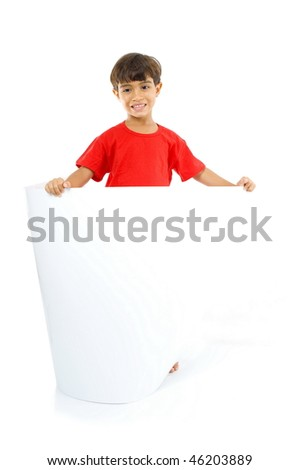 Little boy holding and looking a blank billboard.