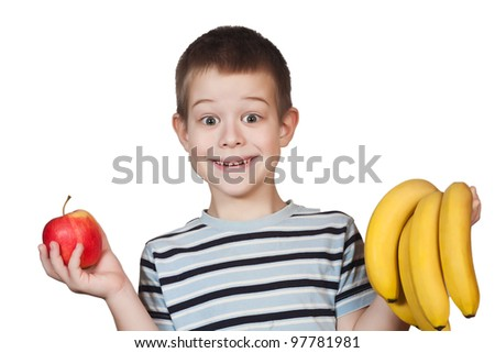 Little Boy holding delicious fruit on a white background