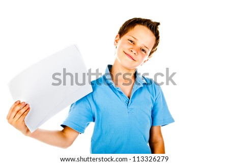 little boy holding empty sheet of paper
