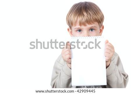 little boy holding notebook - isolated on white background