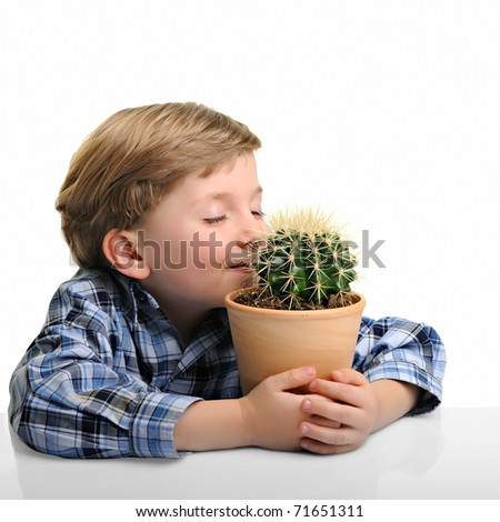little boy hugging his houseplant cactus, isolated on white