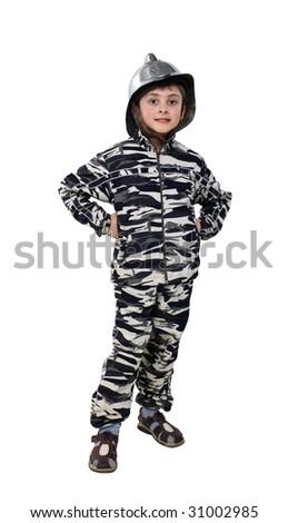 Little boy in a old fire helmet on a white background