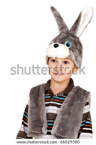 little boy in a suit of a rabbit on a white background - stock photo