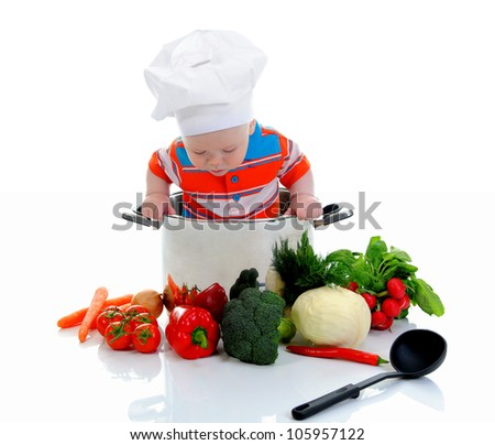 little boy in a suit of the cook in the kitchen preparing soup. Isolated on white background - stock photo