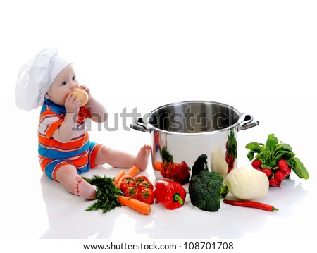 little boy in a suit of the cook in the kitchen preparing soup. Isolated on white background