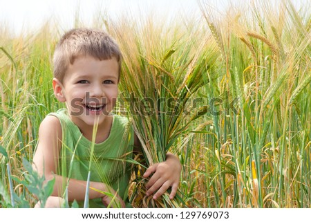 Little boy in a wheat field with embracing a spica