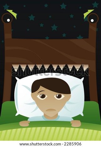 Little boy in bed, scared of the dark and imagining his bed's become a monster