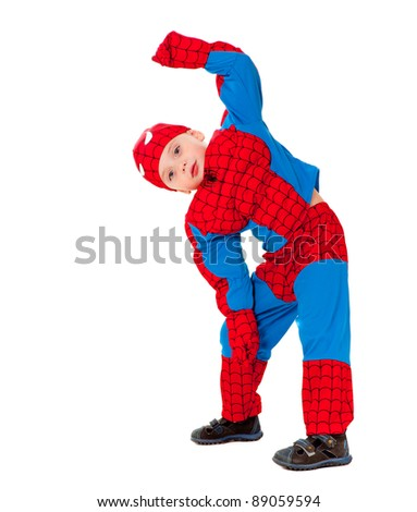 Stock Photo Little boy in carnival costume isolated over white