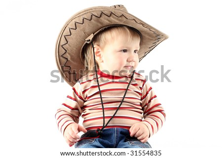 Little boy in cowboy hat isolated on white background