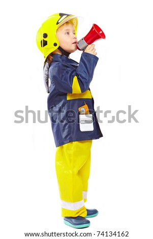 Little boy in fireman costume with megaphone isolated on white background - stock photo