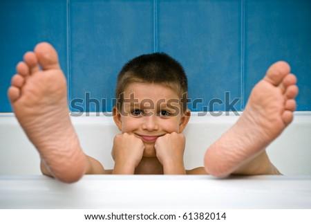 Little boy in the bath