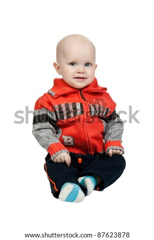 little boy in the studio isolated on white background