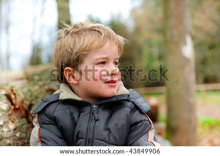little boy in the wood