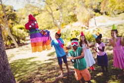 Little boy is going to broke a pinata for his birthday in a park