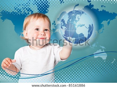 Little boy is looking at planet Earth. Blue background
