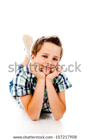 little boy isolated on a white background