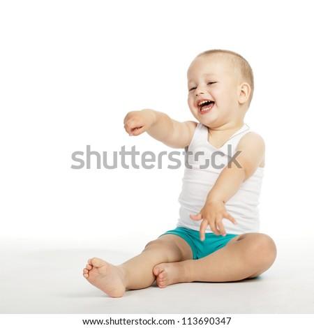 little boy laughs