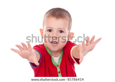 little boy looking at camera, isolated on white