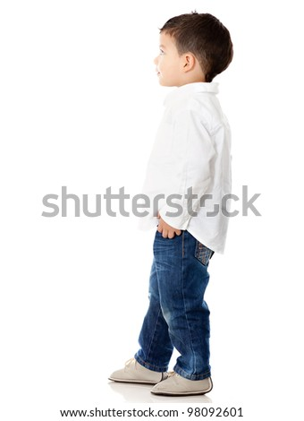 Little boy looking up - isolated over a white background