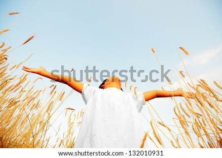 Little boy on a wheat field in the sunlight