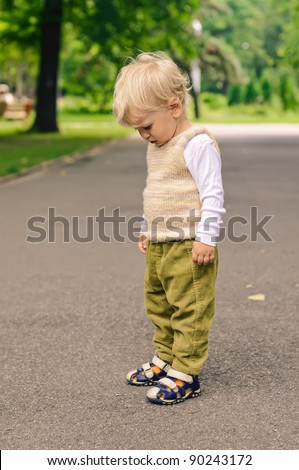little boy on stroll in the park