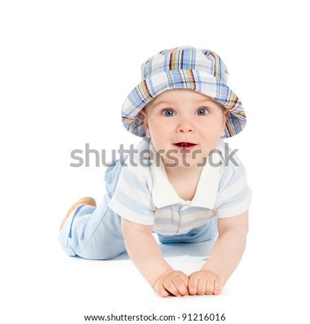 little boy on the floor - stock photo