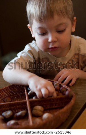 little boy playing with basket and nuts in the kindergarten