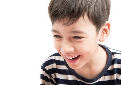 Little boy portrait close up face on white background