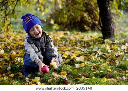 little boy posing outdoors with apples by autumn