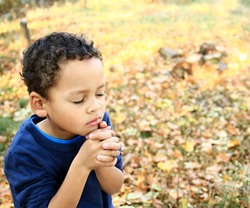 little boy praying to god with hands together stock image stock photo