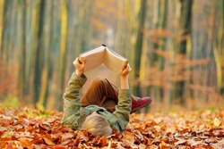 Little boy reads a book in the autumn park.