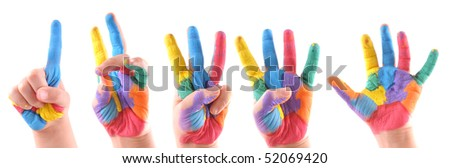 Little boy's colorful hands from one to five - High resolution studio image.