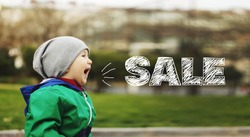 Little boy screaming. Black Friday and sales concept. Digital hand drawing Sale word above the screaming baby boy picture. Sales in children's goods store.