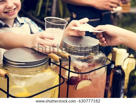 Little Boy Selling Lemonade at Food Stall Market
