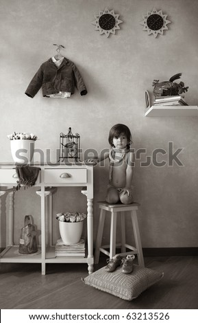 Little boy, sitting on stool