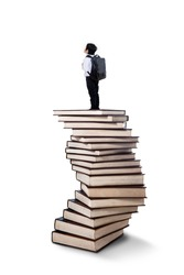 Little boy standing on a stack of books isolated on white background