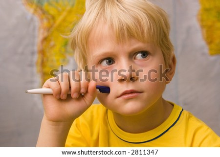 little boy thinking about future