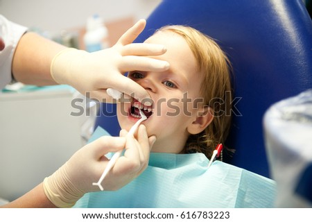 Little boy visiting dentists, regular visits to the doctor #616783223