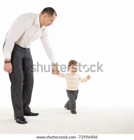 Little boy walk with daddy