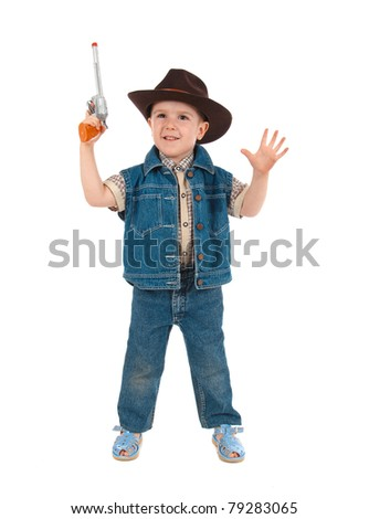 little boy wearing a cowboy hat a over white background