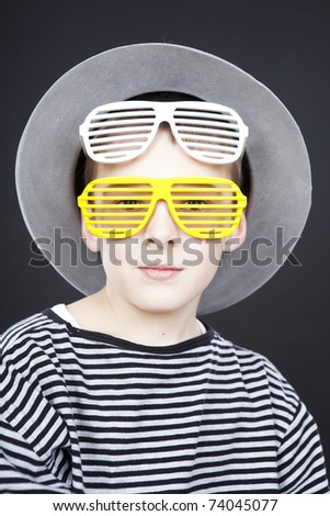 funny hat. boy wearing funny hat and
