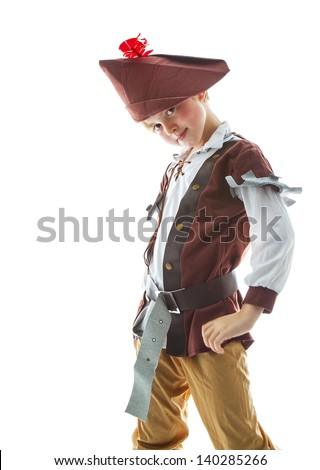 Little boy wearing pirate costume  on white background