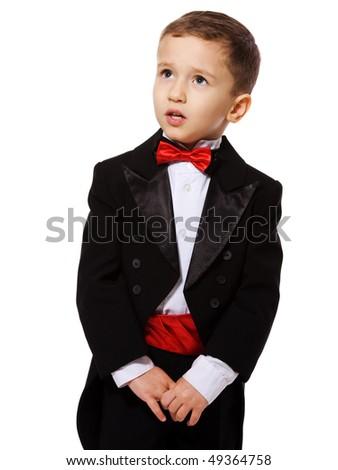 Little Boy wearing tuxedo portrait isolated on white