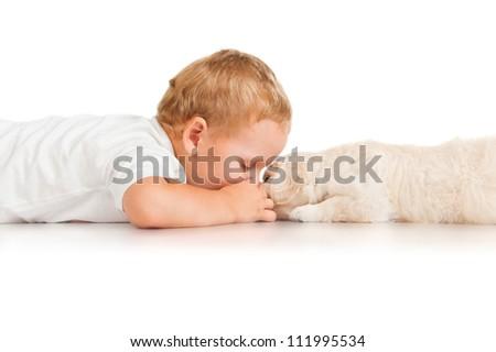 Little boy with a puppy