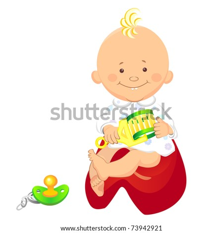 little boy with a rattle in his hand, smiling, sitting on the pot, near the nipple is